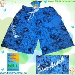 Badeshorts UPF50+, blå løve...